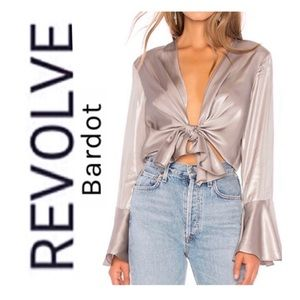 NWT Revolve x Bardot Shimmer Tie Top In Silver
